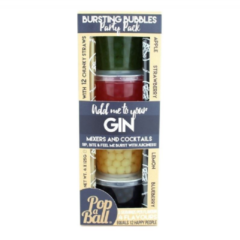 Gin, Mixers & Cocktails - Bursting Bubbles Party Pack PopaBall 500g (4 x 125g)